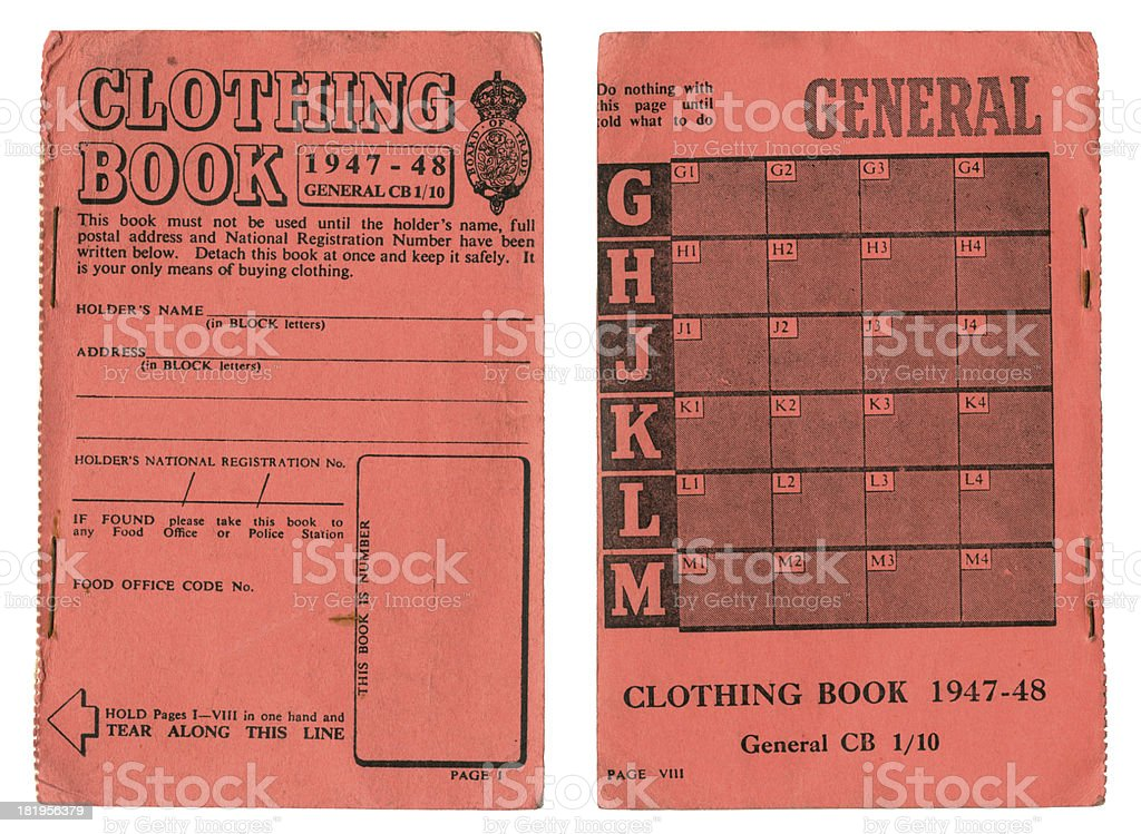 British clothing coupon book 1947-48 stock photo