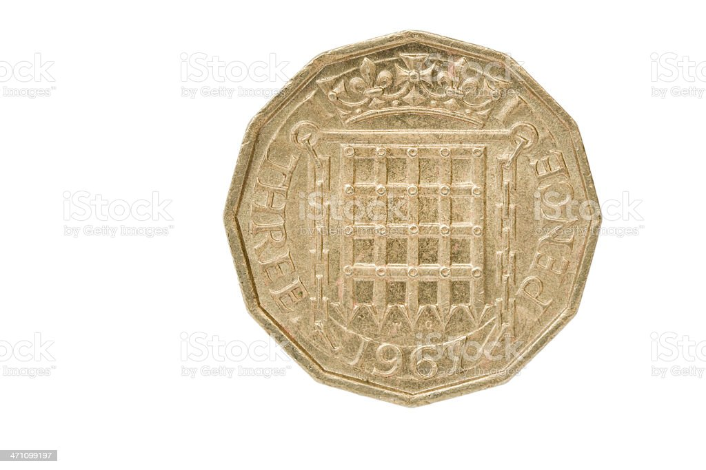 British Coin - 1967 Threepence Of Elizabeth II stock photo