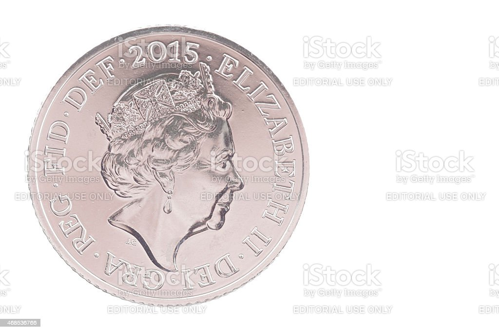British Coin 2015 Showing New Version Of The Queen's Head stock photo