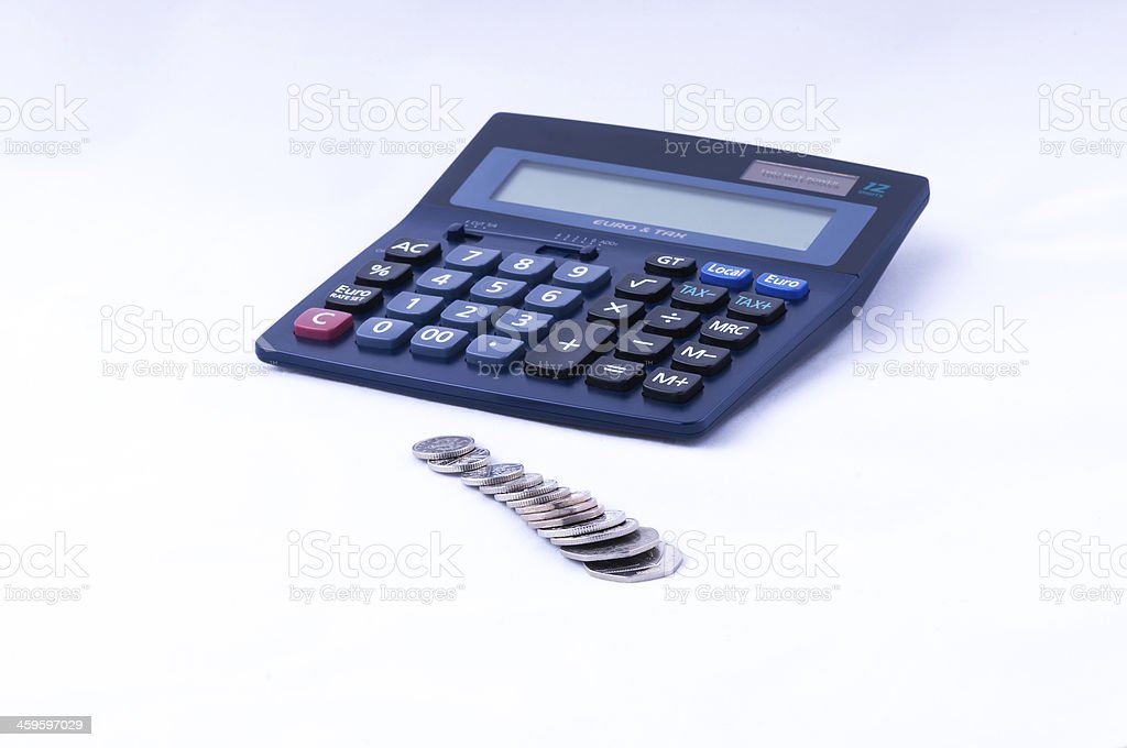 british coins and calculator dof royalty-free stock photo