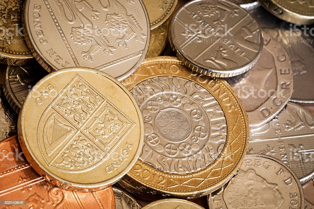 British Coins Full Frame Background stock photo
