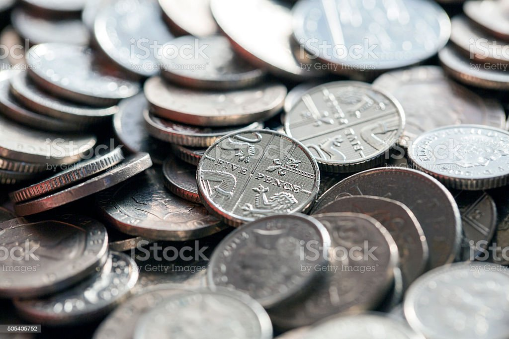 British Coins - Silver stock photo