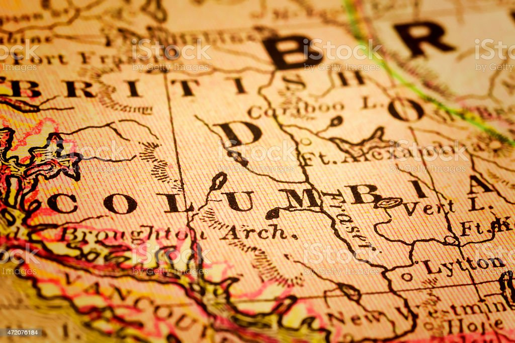 British Columbia, Canada on an Antique map stock photo