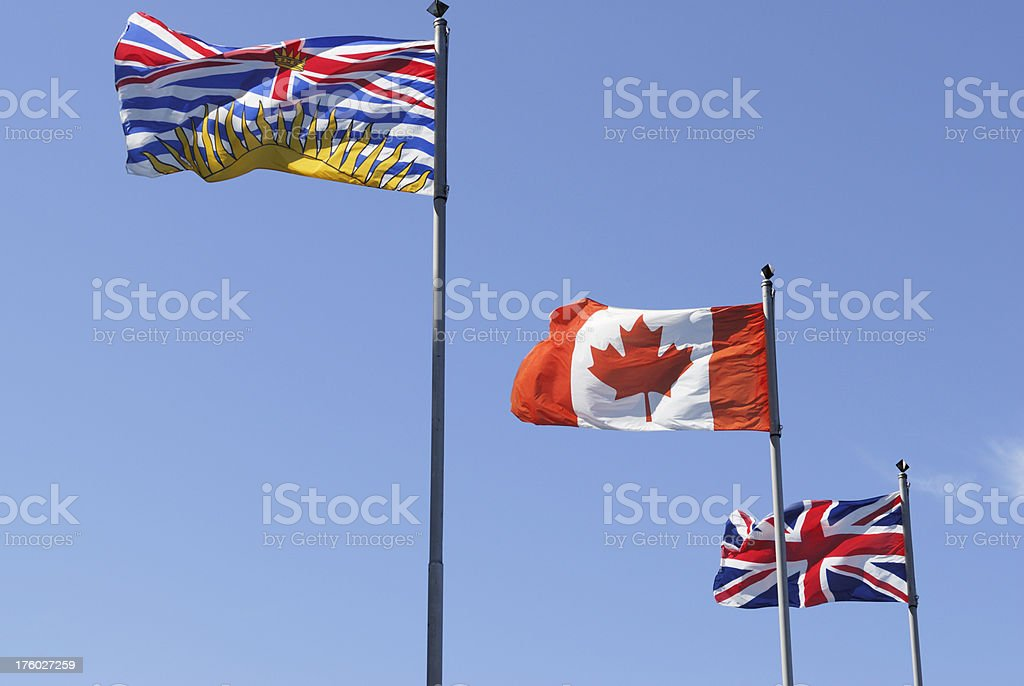British Columbia, Canadian and Britain Flags stock photo