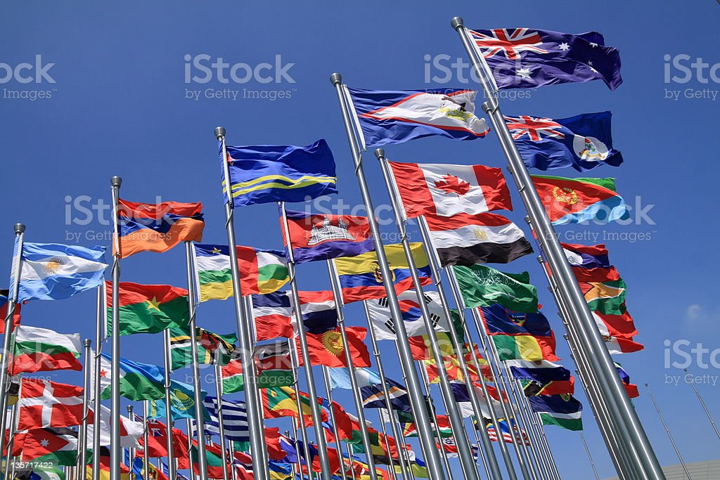 British Commonwealth and world flags stock photo
