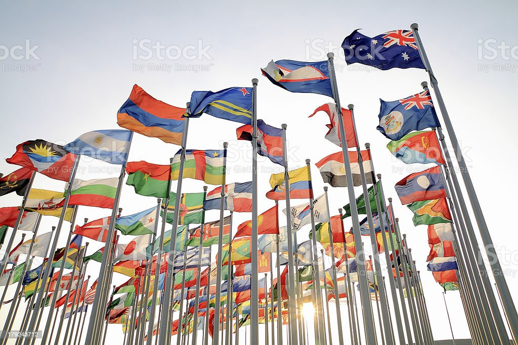 British Commonwealth and World national flags stock photo