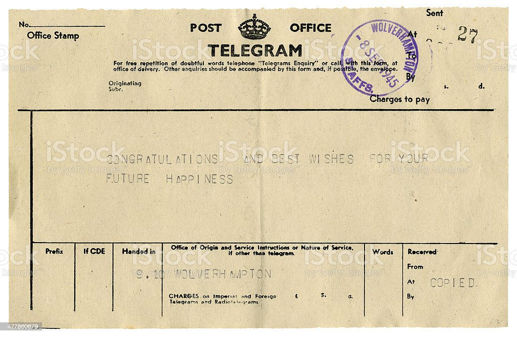 British congratulations telegram, 1945 stock photo