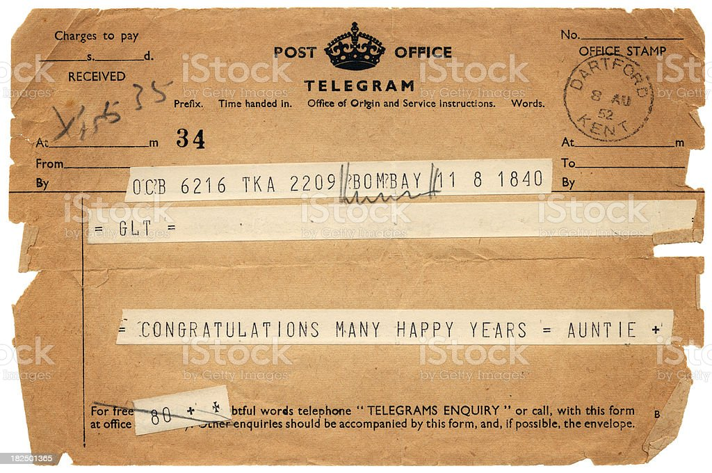 British congratulations telegram from 'Auntie' dated 1952 stock photo