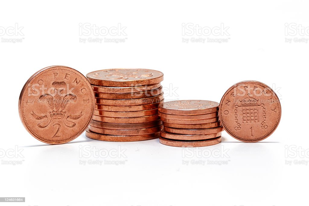 British copper pennies isolated on white royalty-free stock photo