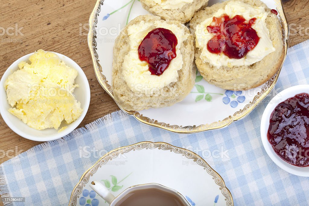 \'Traditional scones, cream and jam served with a cup of tea\'