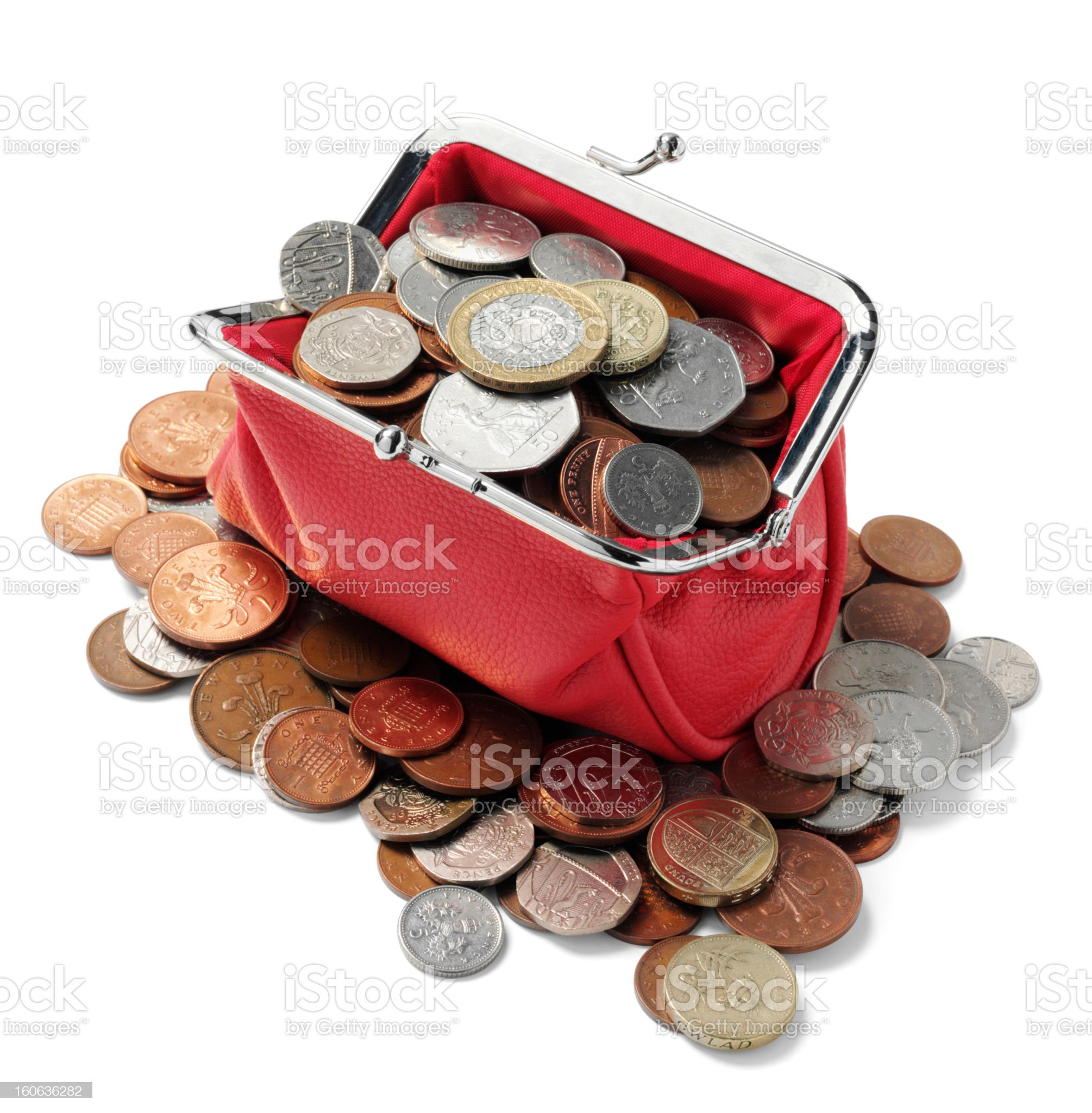 British Currency in a Red Purse royalty-free stock photo