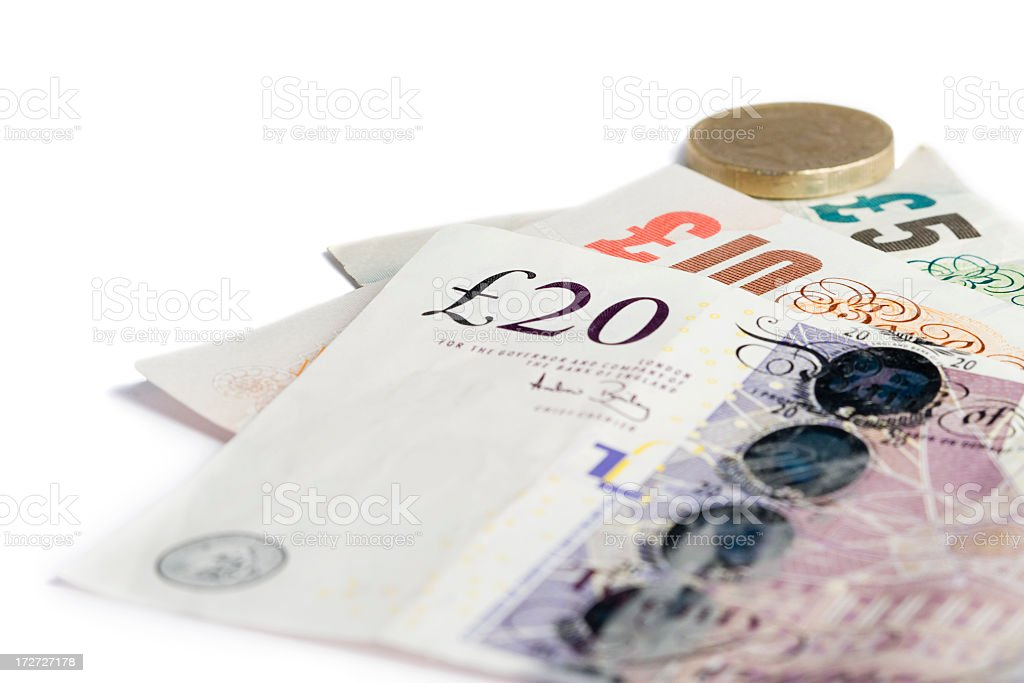 British currency in different denominations of note and coin royalty-free stock photo
