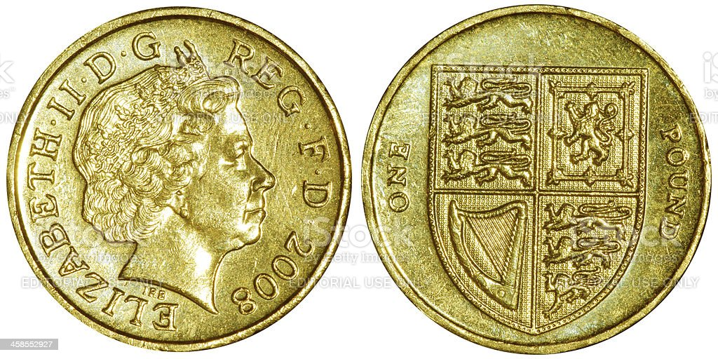 British currency with Queen Elizabeth the second portrait stock photo