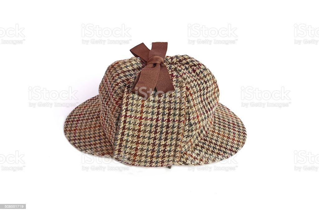 British Deerstalker or Famous Detectives Hat or Cap Isolated stock photo