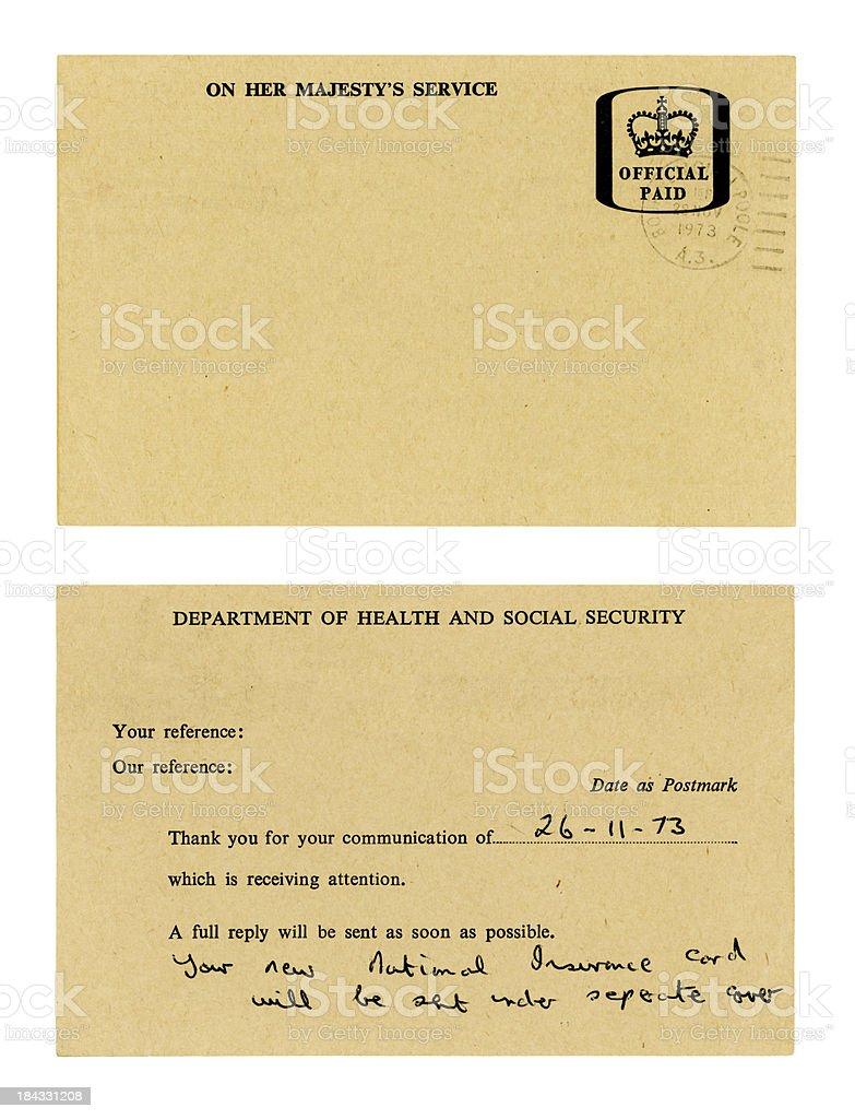 British DHSS response card (both sides) royalty-free stock photo