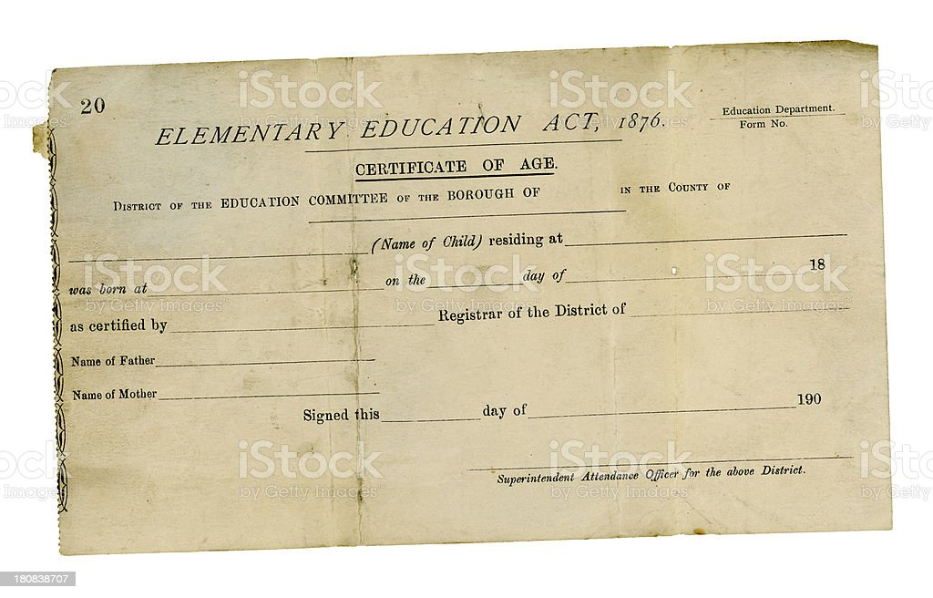 British education committee pupil's age certificate, 1907 royalty-free stock photo