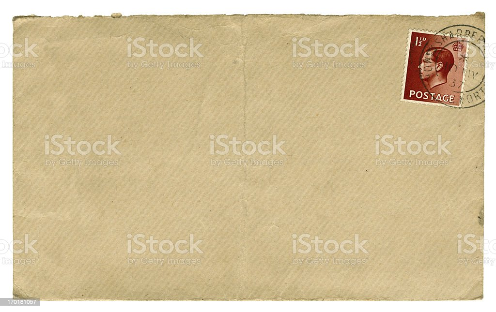 British Edward VIII stamped brown envelope, 1937 stock photo