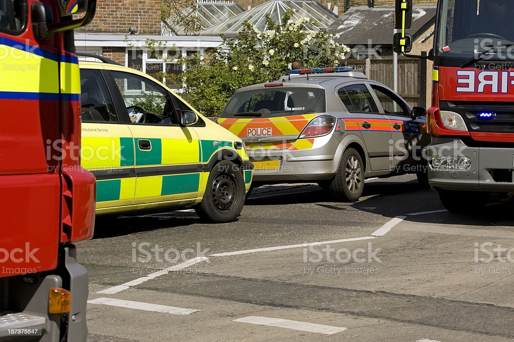 British emergency vehicles at a minor accident royalty-free stock photo