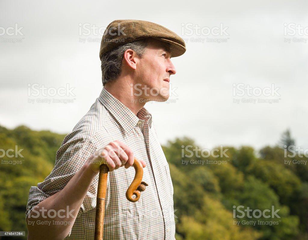 British farmer side profile stock photo