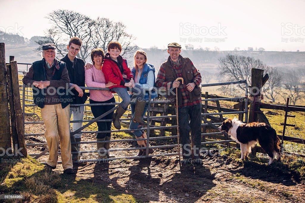 British Farming Family stock photo
