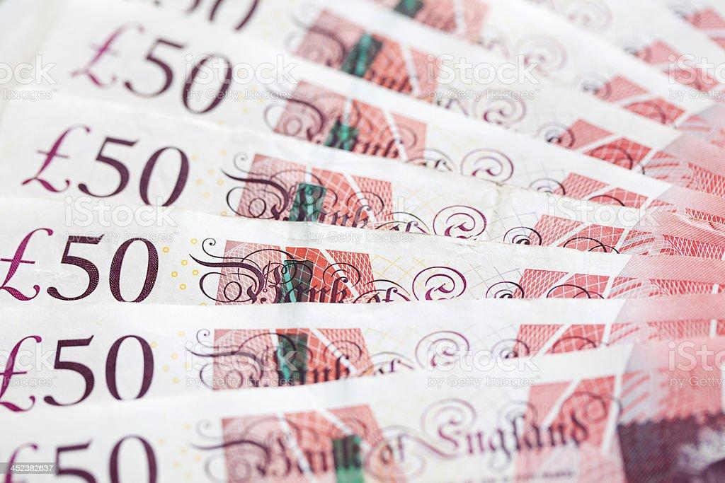 British fifty pound notes stock photo