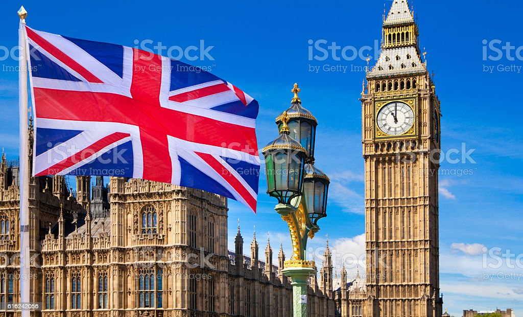 British flag, Big Ben and Houses of Parliament. London stock photo