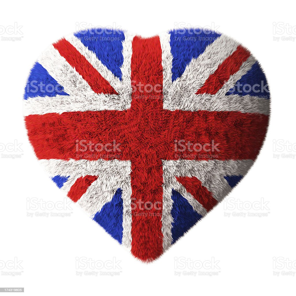 British Flag - Fluffy Heart royalty-free stock photo