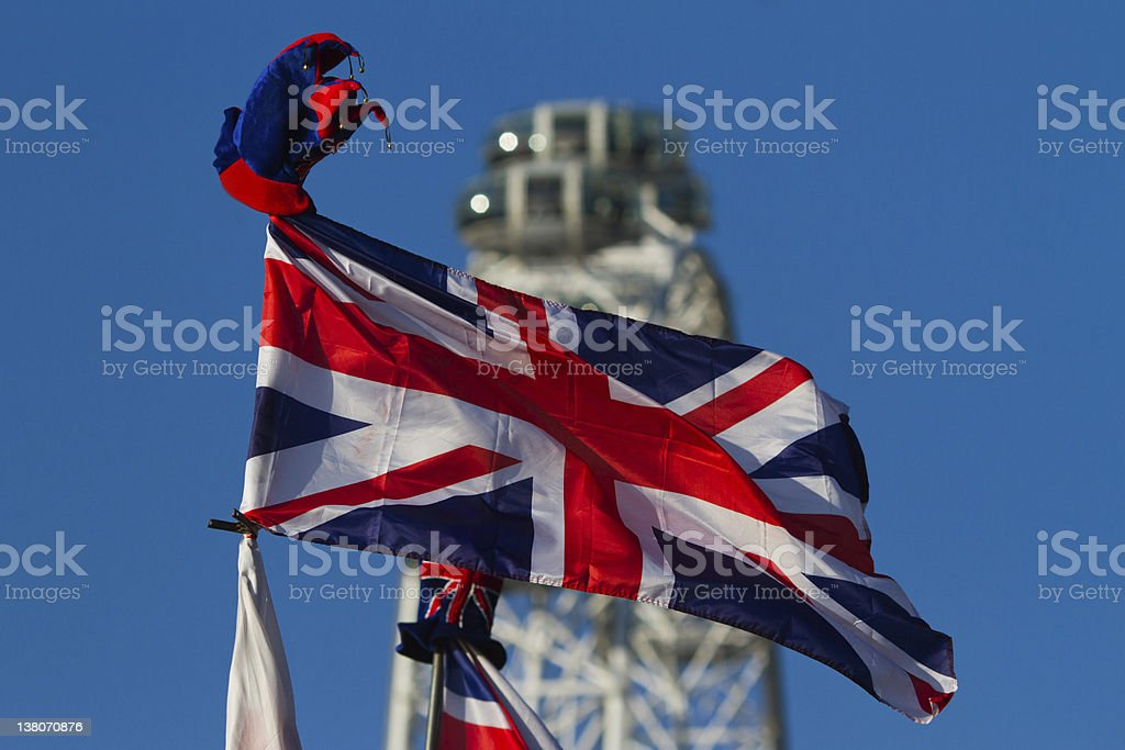 british flag in front of the London Eye stock photo