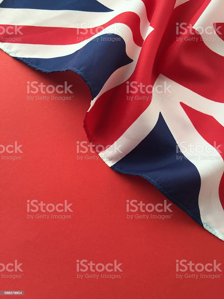 British flag on red with copy space stock photo