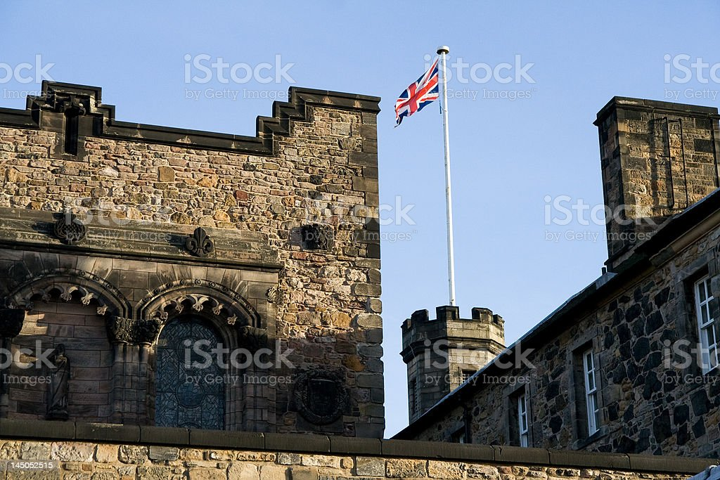 British flag on top of Edinburgh castle royalty-free stock photo