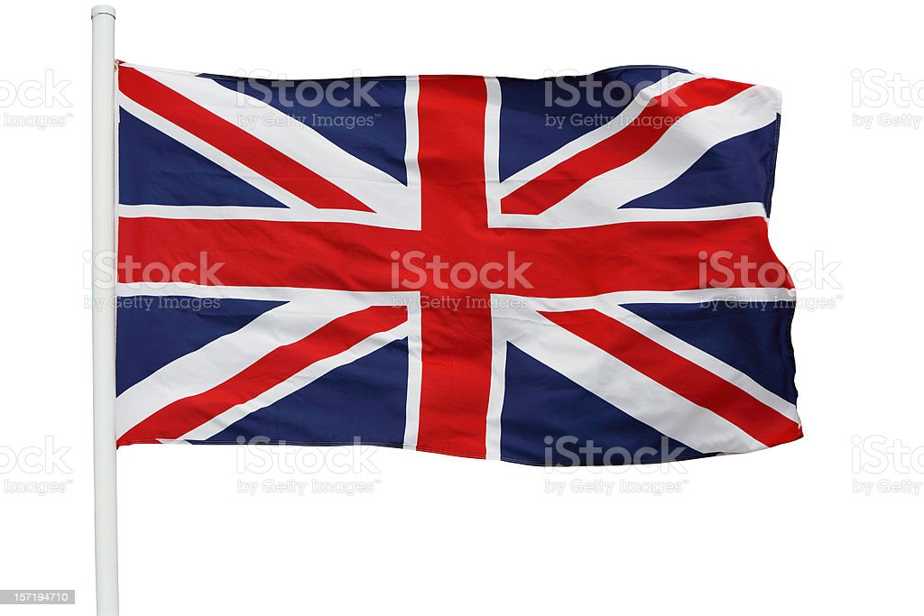 British flag waving on pole with clipping path stock photo