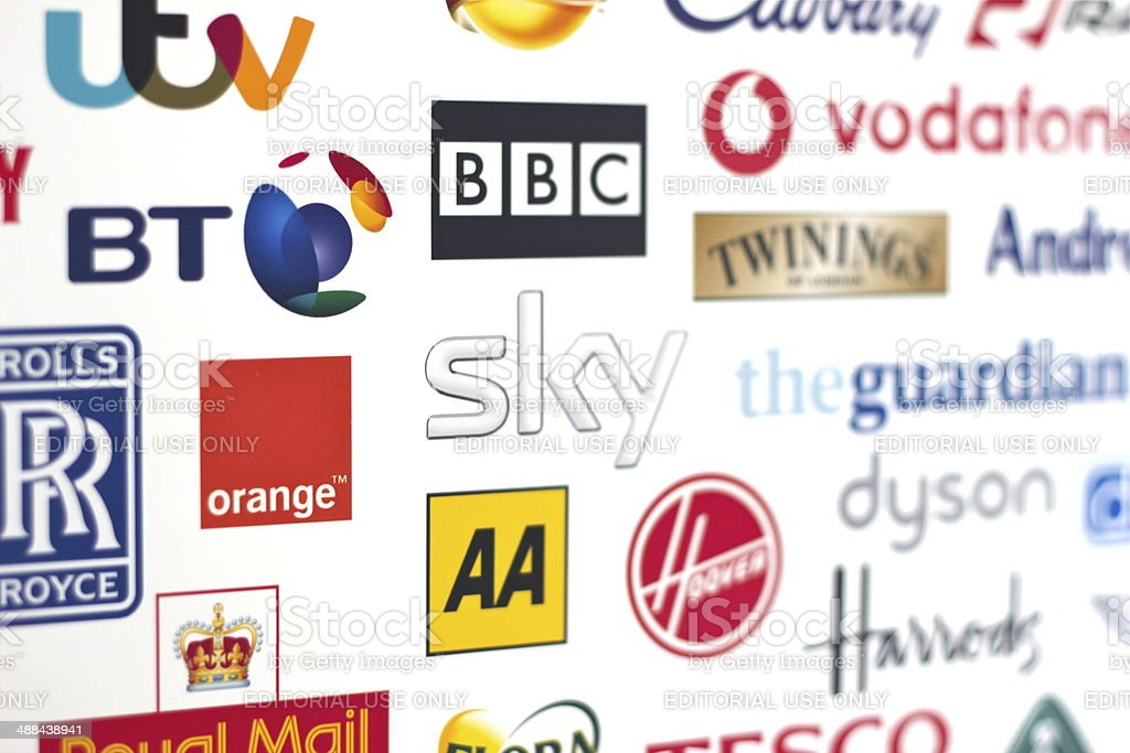 British Globally renown Brands logos stock photo