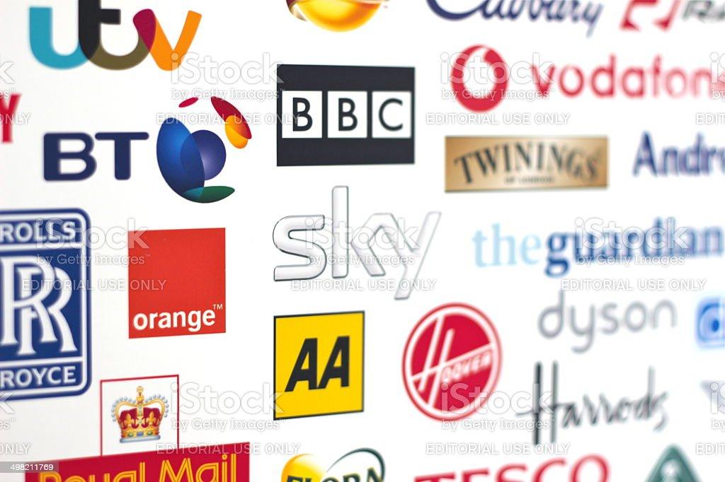 British Globally renown Brands logotypes stock photo