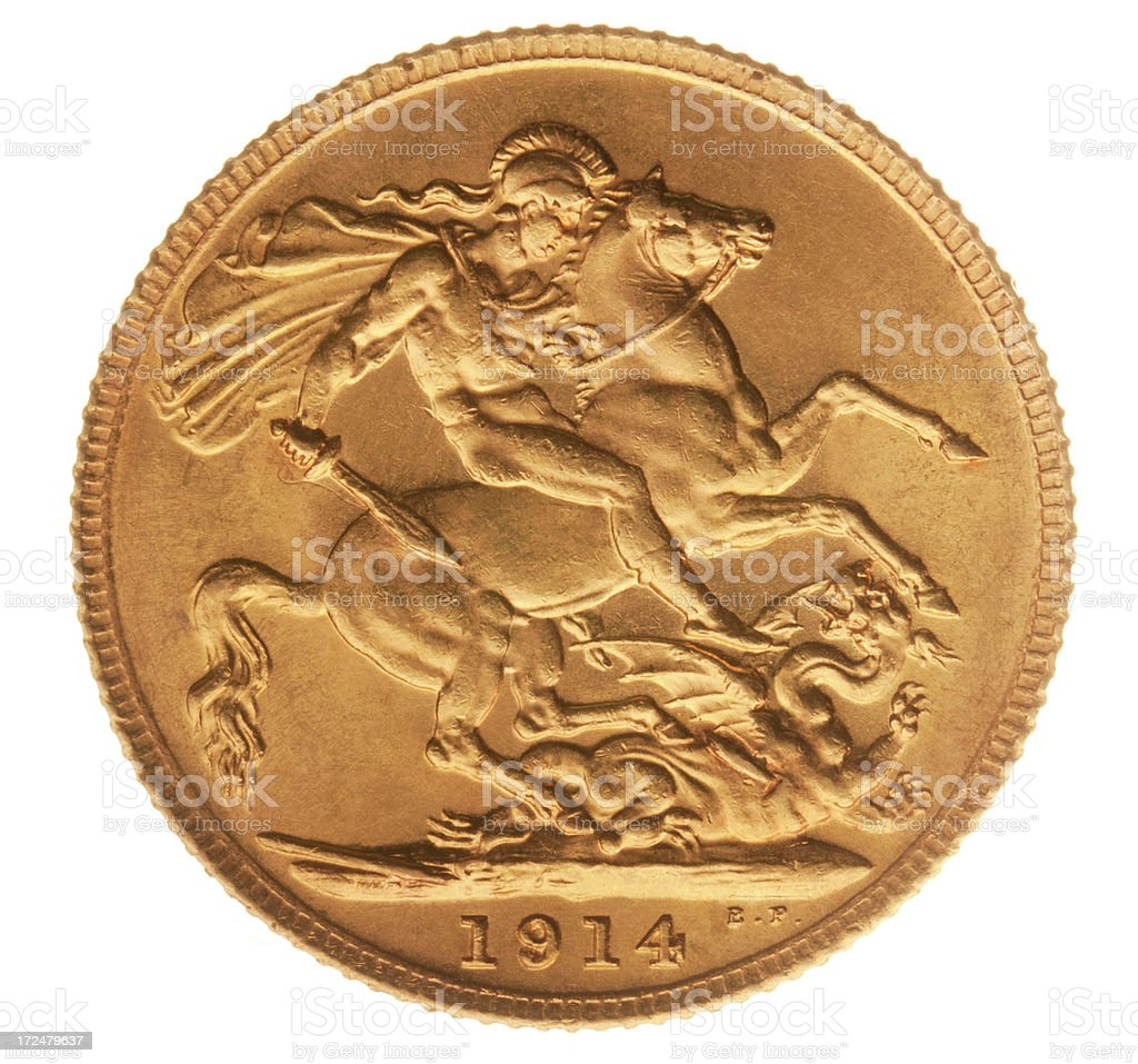 British Gold Half Sovereign (with Clipping Path) royalty-free stock photo