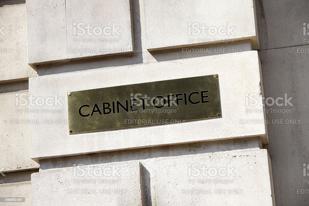 British Government Cabinet Office sign stock photo