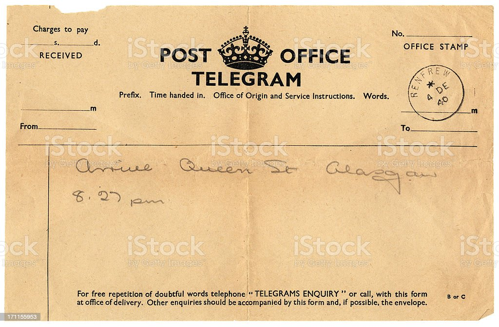 British handwritten notification of arrival telegram, 1940 stock photo
