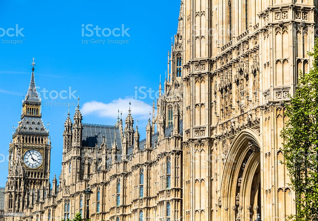 British House of Parliament with Big Ben Clock Tower royalty-free stock photo