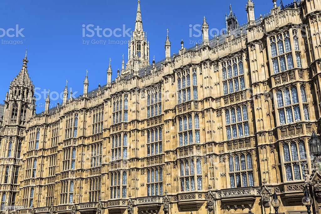British House of Parliament with Numerous Turrets royalty-free stock photo