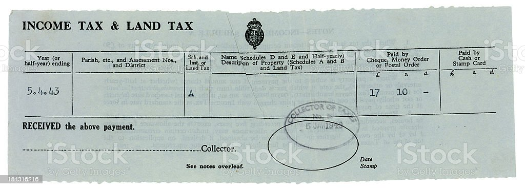 British Income and Land Tax Demand, 1943 royalty-free stock photo