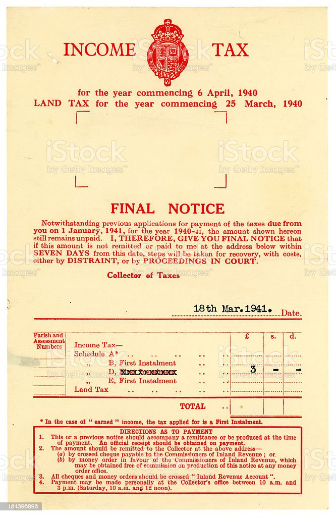 British Income Tax Final Notice, 1940-41 royalty-free stock photo