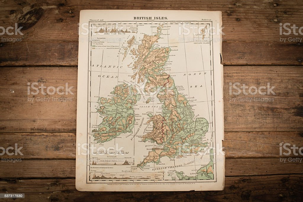 British Isles Map Illustration, Travel, Antique 1871 Book Page stock photo