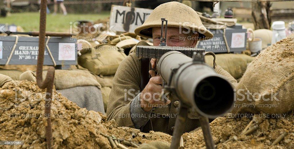 WW1 British Machine Gunner royalty-free stock photo