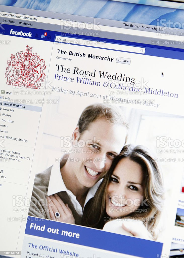 British Monarchy facebook fan page stock photo