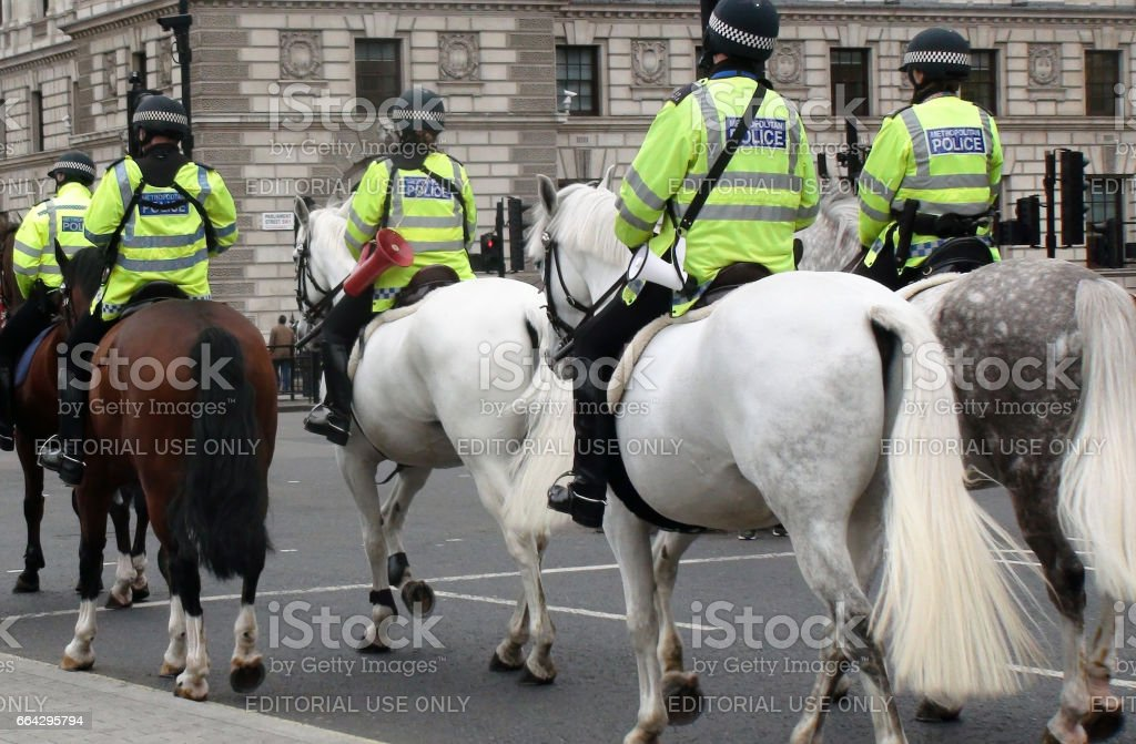 British Mounted Police Officers On The Street At Westminster London England stock photo