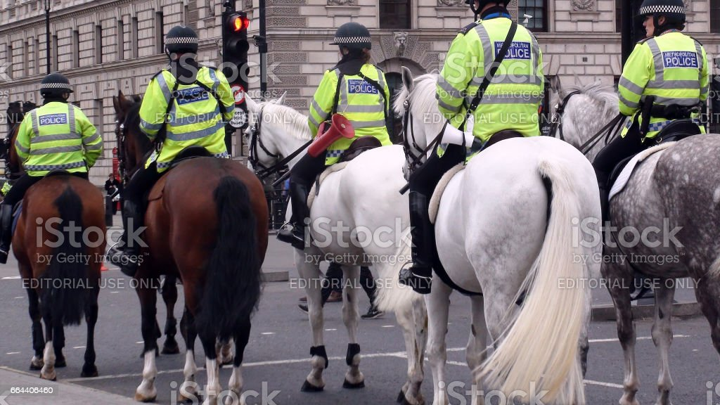 British Mounted Police Officers On The Street At Westminster London England.Europe stock photo