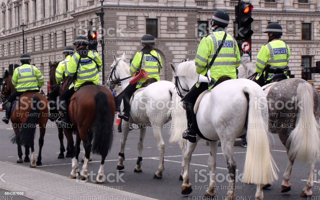 British Mounted Police Officers On The Street At Westminster London.England stock photo
