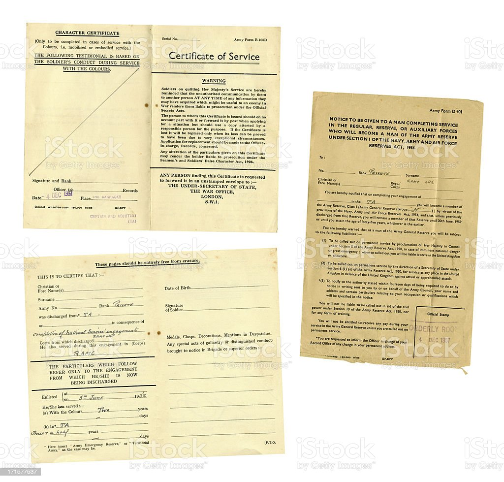 British National Service discharge documents, 1957 stock photo