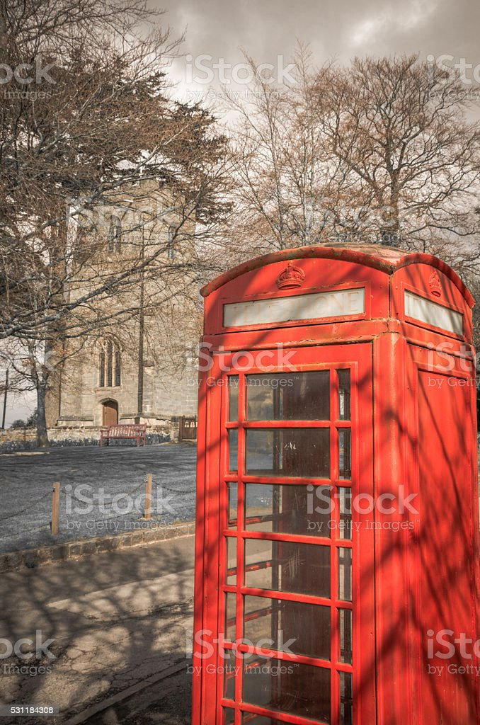 British old-fashioned icons - Red phone booth stock photo