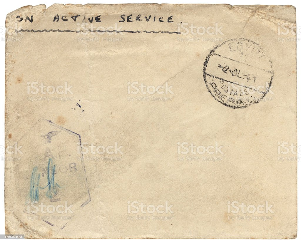 British 'On Active Service' envelope from Egypt 1941, RAF censor royalty-free stock photo