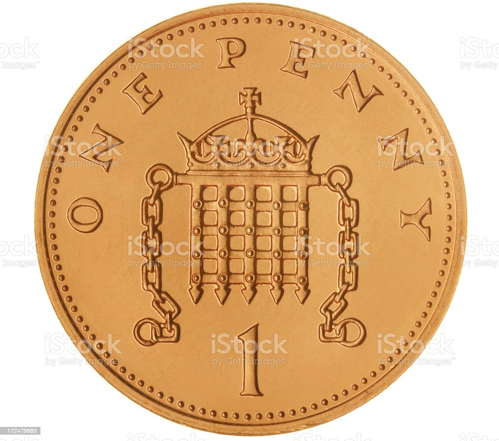 British One Penny Coin (with clipping path) stock photo